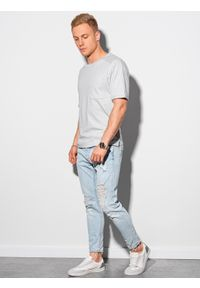 Ombre Clothing - T-shirt męski bawełniany S1386 - jasnoszary - XXL. Kolor: szary. Materiał: bawełna