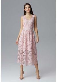 Figl - Różowa Rozkloszowana Sukienka Koronkowa na Szerokich Ramiączkach. Kolor: różowy. Materiał: koronka. Długość rękawa: na ramiączkach