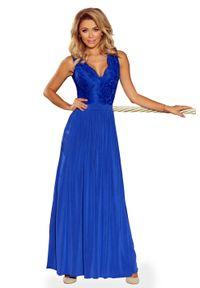 Niebieska sukienka wieczorowa Numoco maxi, bez rękawów