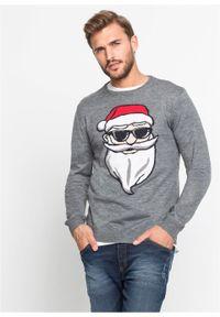Sweter z bożonarodzeniowym motywem bonprix szary melanż. Kolor: szary. Wzór: melanż