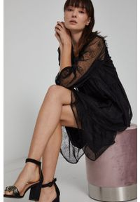 medicine - Medicine - Sukienka Graphic Bouquet. Okazja: na co dzień. Kolor: czarny. Typ sukienki: proste. Styl: casual