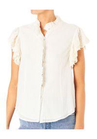 M.A.B.E - Biała bluzka z falbanami. Kolor: biały. Materiał: materiał. Wzór: haft, aplikacja