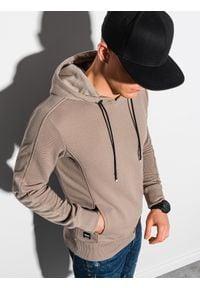 Ombre Clothing - Bluza męska z kapturem B1155 - beżowa - XXL. Typ kołnierza: kaptur. Kolor: beżowy. Materiał: bawełna, dzianina, poliester, dresówka, jeans