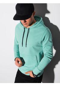 Ombre Clothing - Bluza męska z kapturem B1154 - turkusowa - XXL. Okazja: na co dzień. Typ kołnierza: kaptur. Kolor: turkusowy. Materiał: bawełna, poliester. Styl: klasyczny, casual