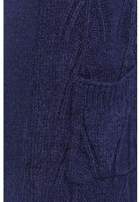 Fioletowy sweter rozpinany Answear Lab długi, z długim rękawem