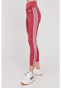 Różowe legginsy Adidas gładkie, z podwyższonym stanem