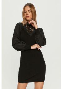 Czarna sukienka Morgan prosta, na co dzień, ze stójką, mini