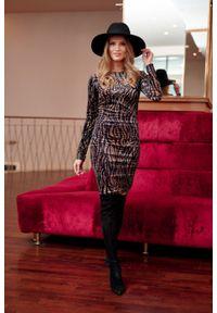 e-margeritka - Sukienka ołówkowa elegancka mini - 38. Materiał: poliester, materiał, elastan. Typ sukienki: ołówkowe. Styl: elegancki. Długość: mini