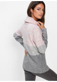 Różowy sweter bonprix z golfem, melanż