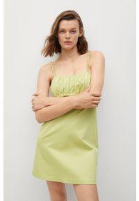 mango - Mango - Sukienka DAMAS. Okazja: na co dzień. Kolor: zielony. Materiał: bawełna, materiał. Długość rękawa: na ramiączkach. Typ sukienki: proste. Styl: casual