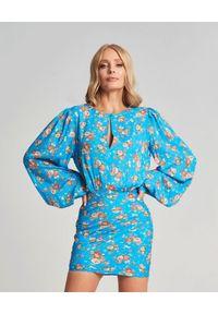 SELF LOVE - Niebieska sukienka Barrafranca. Kolor: niebieski. Materiał: wiskoza, materiał. Wzór: nadruk, kwiaty. Typ sukienki: kopertowe. Styl: elegancki. Długość: mini