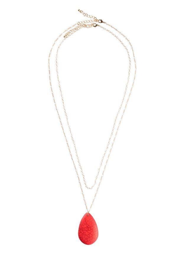 Łańcuszek dwurzędowy bonprix złoty kolor - brązowy marsala