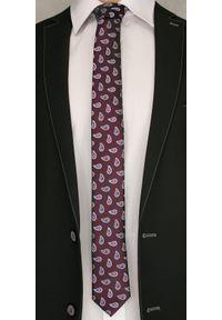Brązowy krawat Angelo di Monti paisley, elegancki