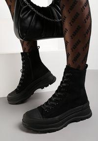 Renee - Czarne Botki Kephopis. Wysokość cholewki: przed kolano. Zapięcie: sznurówki. Kolor: czarny. Materiał: zamsz, guma. Szerokość cholewki: normalna. Styl: klasyczny, elegancki