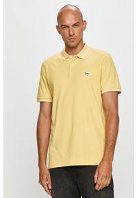 Żółta koszulka polo Lee krótka, z aplikacjami
