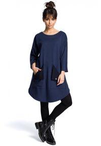 Niebieska sukienka BE trapezowa, na lato