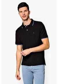 Czarna koszulka polo Lancerto z krótkim rękawem, klasyczna, polo, w kolorowe wzory