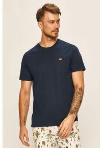 Niebieski t-shirt Levi's® na spotkanie biznesowe, casualowy, z aplikacjami