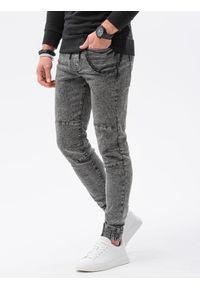 Ombre Clothing - Spodnie męskie jeansowe joggery P1056 - czarne - XXL. Kolor: czarny. Materiał: jeans