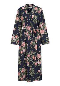 Cellbes Wzorzyste kimono w kwiaty granatowy female ze wzorem/niebieski 34/36. Kolor: niebieski. Materiał: tkanina, bawełna. Wzór: kwiaty
