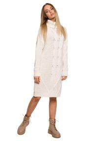 MOE - Swetrowa Sukienka z Golfem w Warkocze - Beżowa. Typ kołnierza: golf. Kolor: beżowy. Materiał: poliamid, akryl