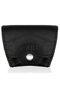 Skórzana bilonówka, portfel na monety czarny Solier SA10. Kolor: czarny. Materiał: skóra
