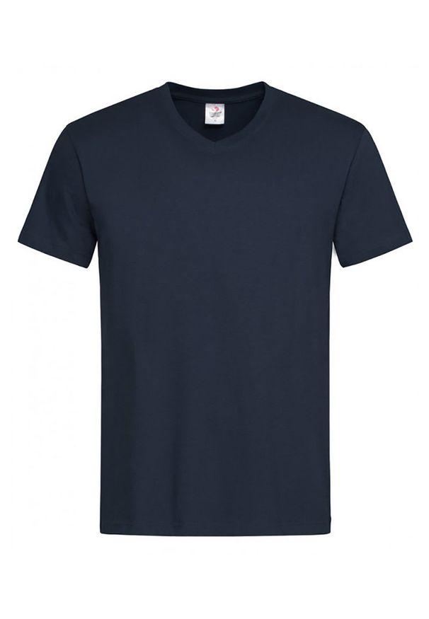 Niebieski t-shirt Stedman z krótkim rękawem, na co dzień, casualowy, krótki