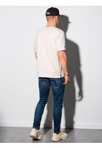 Ombre Clothing - T-shirt męski z nadrukiem S1371 - ecru - XXL. Materiał: bawełna, dzianina, poliester. Wzór: nadruk