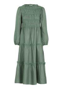 Cream Długa sukienka z marszczeniem Mockia zielony female zielony 42. Typ kołnierza: kołnierz z falbankami. Kolor: zielony. Materiał: włókno, tiul, wiskoza. Długość rękawa: długi rękaw. Długość: maxi