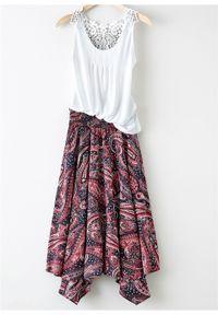 Spódnica z asymetryczną linią dołu bonprix czarno-malinowy paisley. Kolor: czarny. Długość: długie. Wzór: paisley #7
