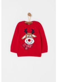 Czerwony sweter OVS casualowy, z aplikacjami