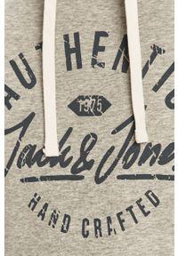 Szara bluza nierozpinana Jack & Jones z kapturem, z nadrukiem, casualowa