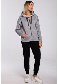 e-margeritka - Bluza bawełniana z kapturem oversize szara - m. Typ kołnierza: kaptur. Kolor: szary. Materiał: bawełna. Długość: krótkie