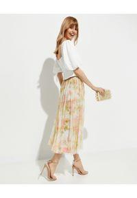 NEEDLE & THREAD - Spódnica Harlequin Rose Rufle. Kolor: beżowy. Wzór: kwiaty, aplikacja