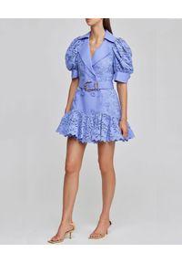 ACLER - Niebieska sukienka Sierra. Kolor: niebieski. Materiał: bawełna, len, wiskoza, koronka. Długość: mini