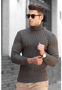 Brązowy sweter IVET z golfem, na zimę