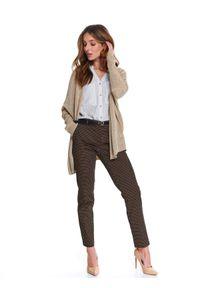 Beżowy sweter TOP SECRET na wiosnę, w kolorowe wzory, elegancki