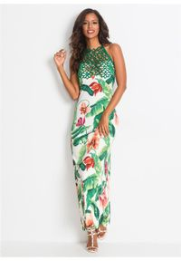 Biała sukienka bonprix na lato, w kwiaty