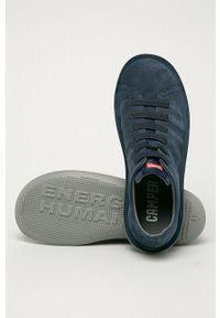 Niebieskie sneakersy Camper z cholewką, na sznurówki, z okrągłym noskiem