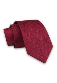 Alties - Ciemny Czerwony Elegancki Męski Krawat -ALTIES- 7cm, Klasyczny, w Tłoczony Wzór Florystyczny. Kolor: czerwony. Materiał: tkanina. Wzór: kwiaty. Styl: klasyczny, elegancki