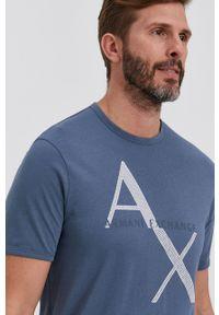 Armani Exchange - T-shirt bawełniany. Kolor: niebieski. Materiał: bawełna. Wzór: nadruk
