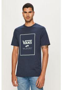 Niebieski t-shirt Vans na co dzień, z nadrukiem, casualowy