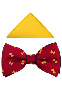 Modini - Czerwona mucha męska w żółte kokardki A231. Kolor: czerwony, żółty, wielokolorowy. Materiał: tkanina, poliester. Styl: elegancki