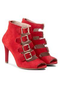 Czerwone sandały Oleksy z aplikacjami, wizytowe
