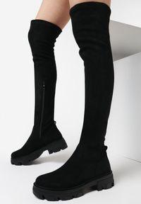 Born2be - Czarne Kozaki Feathergloom. Nosek buta: okrągły. Kolor: czarny. Materiał: materiał. Szerokość cholewki: normalna. Obcas: na platformie