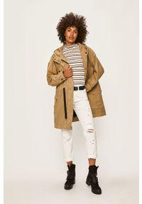 Oliwkowa kurtka Pepe Jeans na co dzień, casualowa, z kapturem