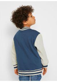 Bluza rozpinana chłopięca w stylu college bonprix indygo - naturalny melanż. Kolor: niebieski. Wzór: melanż. Styl: sportowy