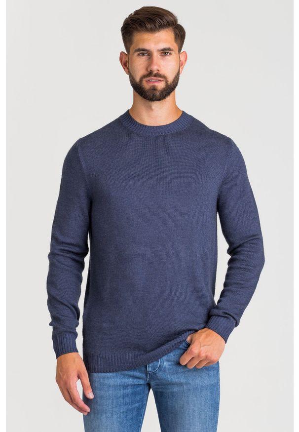 Niebieski sweter JOOP! Jeans w kolorowe wzory, z okrągłym kołnierzem