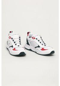 Białe sneakersy TOMMY HILFIGER z cholewką, na sznurówki