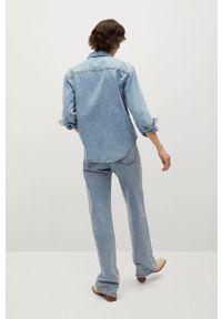 Niebieska koszula mango z klasycznym kołnierzykiem, na co dzień, z długim rękawem